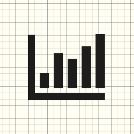 vector icon infographic, chart on the background of a notebook Ilustração
