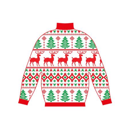 Jersey de invierno cálido hecho a mano, svitshot, jersey de punto, color rojo. Suéteres de mujer, suéter de hombre, suéter unisex. Diseño - copos de nieve, Navidad, año nuevo, vector de stock