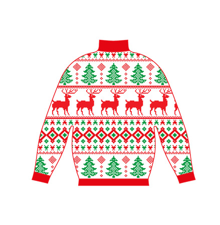 Winter warm sweater handmade, svitshot, jumper for knit, red color. Women's sweaters, men's sweater, unisex sweater. Design - snowflakes, Christmas, New Year, stock vector