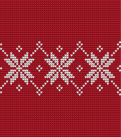 Knitted Christmas and New Year pattern Norwegian style , illustration