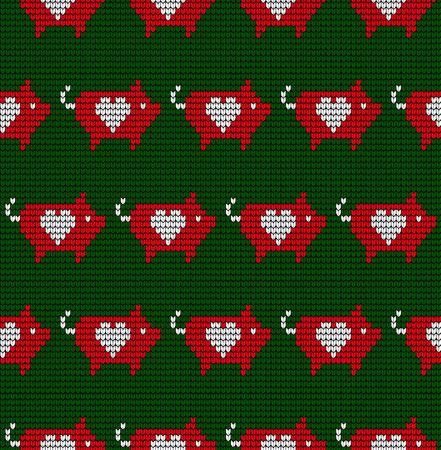 Nahtloses, gestricktes Weihnachtsmuster aus Wolle mit Schweinen und Laternen