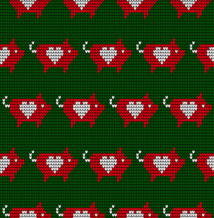 Seamless woolen knitted Christmas pattern with pigs and lanterns