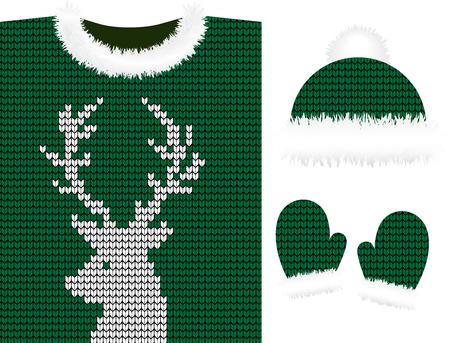 Vêtements d'hiver tricotés : pull, chapeaux, mitaines, écharpe