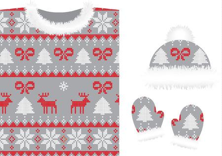Gestrickte Winterkleidung: Pullover, Mützen, Fäustlinge, Schal Vektorgrafik