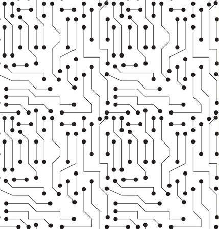 Black and White Printed Circuit Board Seamless Background with Pattern in Swatches Illustration