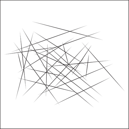 Random intersecting lines geometric pattern. Abstract geometric black and white texture, pattern