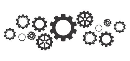 Abstract gear wheel mechanism background. Machine cog technology. Teamwork concept. Vector illustration