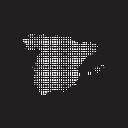 Abstract map of Spain from round dots, vector illustration eps 10 Çizim