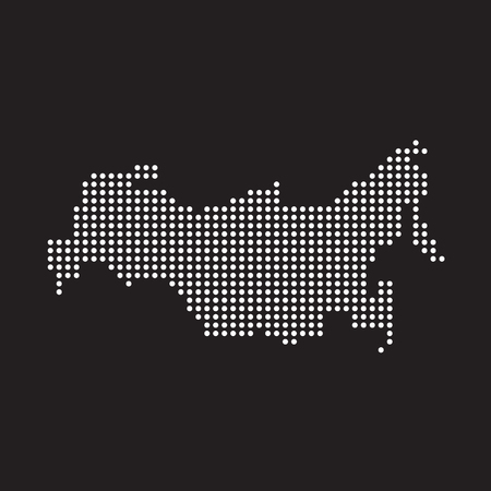 Abstract map of Russia from round dots, vector illustration