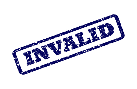 INVALID seal print with corroded texture. Red vector rubber print of INVALID label with dust texture. Text tag is placed between double parallel lines.
