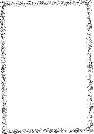 Set of black rectangle grunge frames. Creative square borders. Vector illustration.