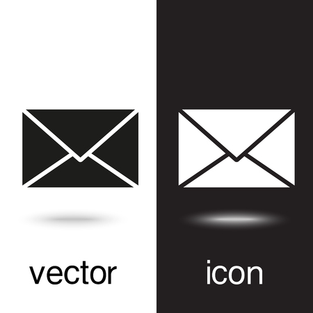 vector icon envelope on black and white background
