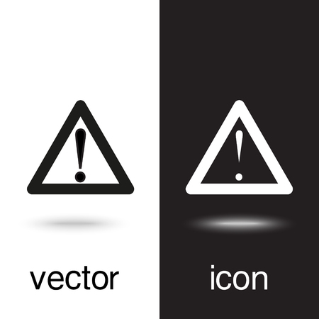 caution vector icon on black and white background Illusztráció