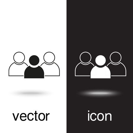 vector icon group of people on black and white background Ilustração Vetorial