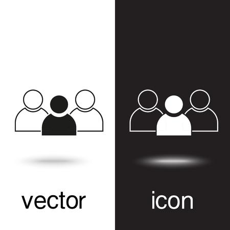 Vektorsymbolgruppe von Menschen auf schwarzem und weißem Hintergrund Vektorgrafik