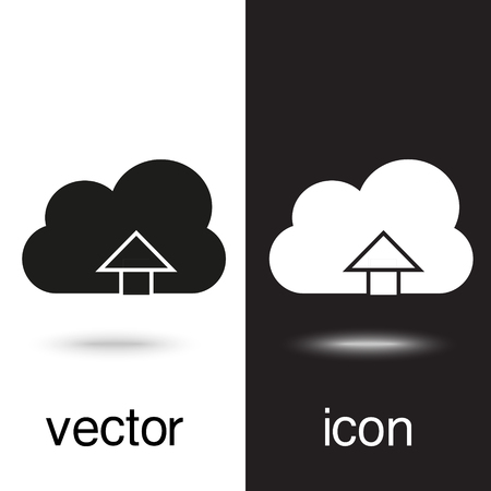 upload on cloud vector icon on black and white background Ilustração