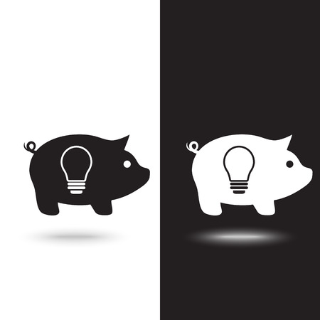 Piggy bank simple vector illustration in flat linework style Ilustração