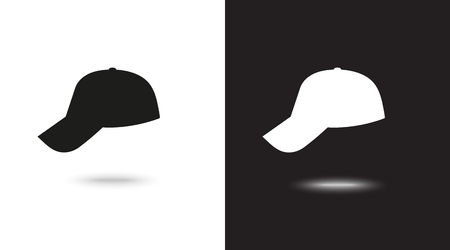 Vector icon cap on black and white background Reklamní fotografie - 124897331