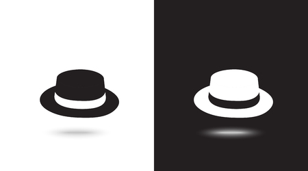 Vector icon cap on black and white background Ilustrace