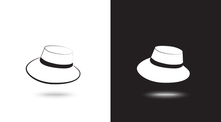 Vector icon cap on black and white background Illustration