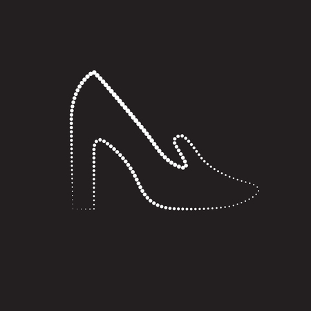 Vector fashion illustration with diamond shoes on the dark blue background. It is suitable for the wall papers, post cards or advertisment