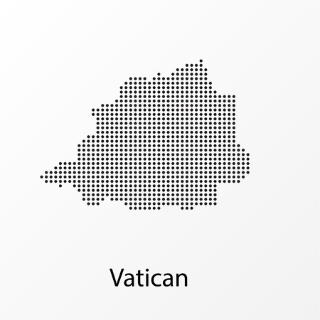 Vector illustration of a geographical map of the Vatican with dots