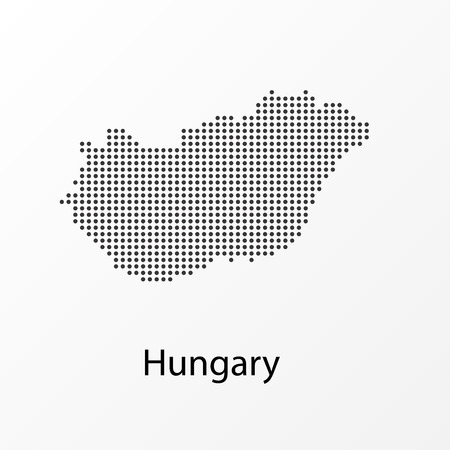 Vector illustration of a geographical map of Hungary with dots 일러스트