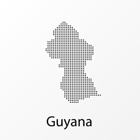 Vector illustration of a geographical map of Guyana with dots