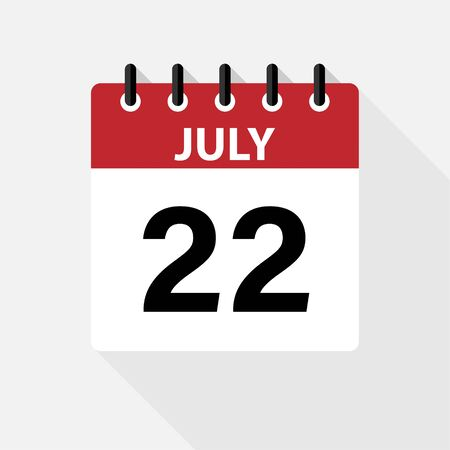 July Vector flat daily calendar icon. Date and time, day, month. Holiday.