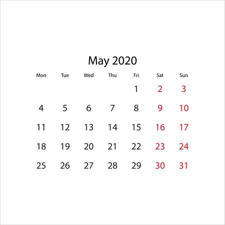 Calendar 2020 year - vector illustration. Week starts on Monday Ilustração