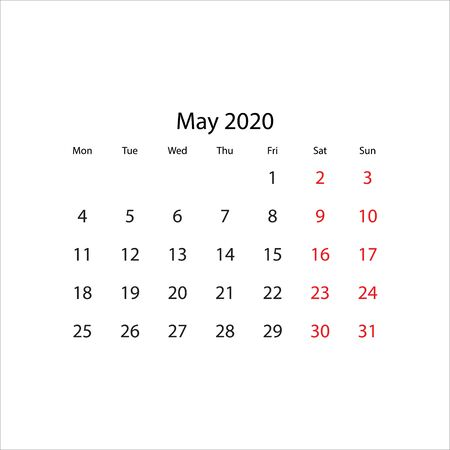 Calendar 2020 year - vector illustration. Week starts on Monday Illustration