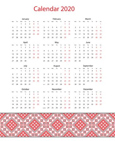vector calendar 2020 with embroidery in design