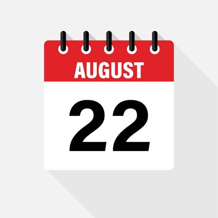 August . Vector flat daily calendar icon. Date and time day month.