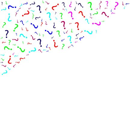 Question marks scattered on white background. Quiz doubt poll survey faq interrogation query background. Illustration
