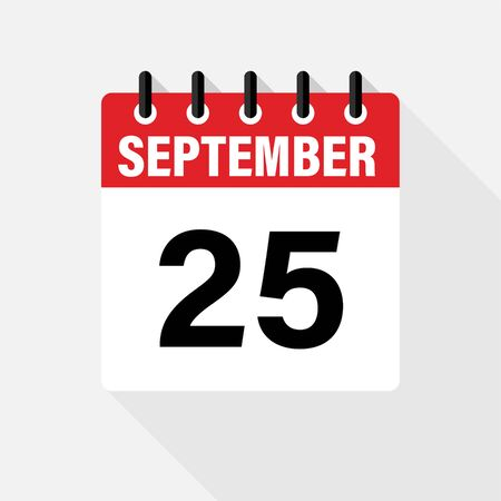 SEPTEMBER . Vector flat daily calendar icon. Date and time, day, month. Holiday