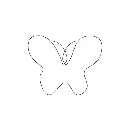 butterfly one line drawing. Continuous line. Hand-drawn minimalist illustration, vector. Ilustração