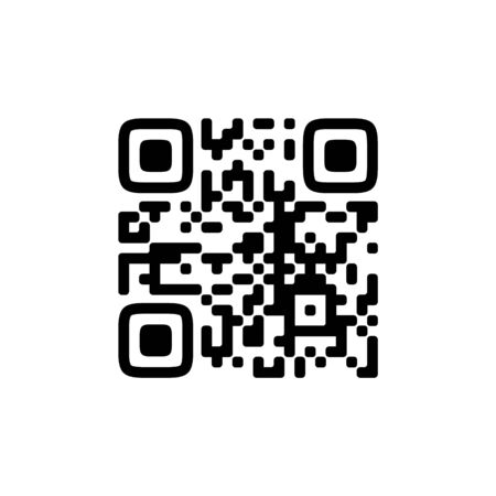 Vector QR code sample for smartphone scanning isolated on white background. Stock Illustratie