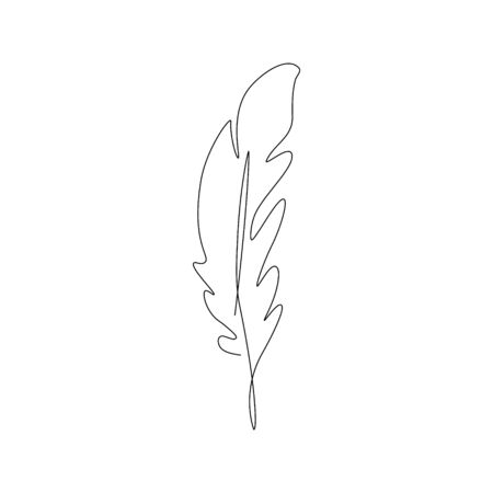 bird feather one line drawing. Continuous line. Hand-drawn minimalist illustration, vector. Stock Illustratie