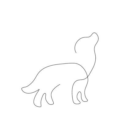 dogs one line drawing. Continuous line. Hand-drawn minimalist illustration, vector.