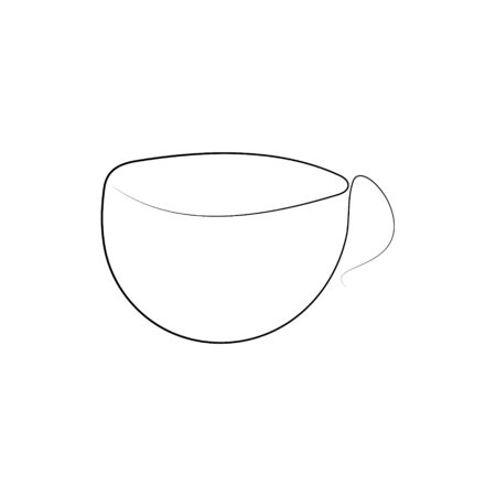 coffee one line drawing. Continuous line. Hand-drawn minimalist illustration, vector.
