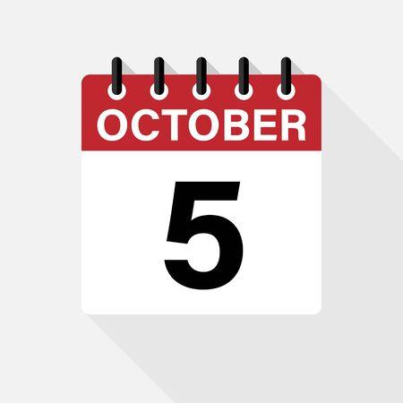 October calendar vector icon new design Stock Illustratie