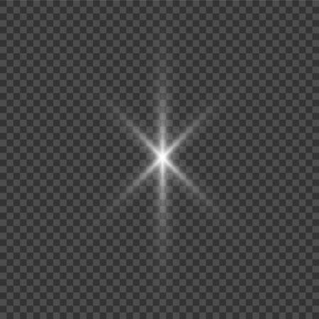 La lumière rougeoyante blanche explose sur un transparent