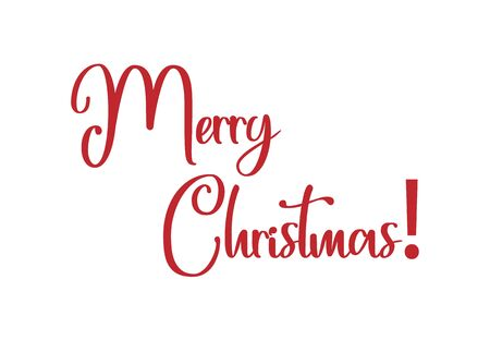 Merry Christmas text free hand design isolated on white background Иллюстрация
