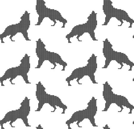 Winter night, Tree of life and howling wolves. Knitted woolen seamless pattern