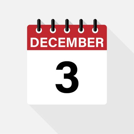 December - Calendar Icon. Calendar Icon with shadow. Flat style. Date, day and month. Reminder. Vector illustration