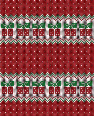 Dzianinowy wzór świąteczny i noworoczny