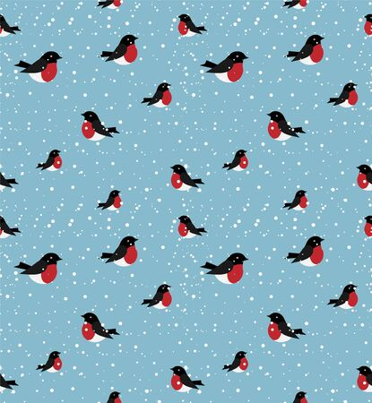 vector seamless winter pattern in bullfinches