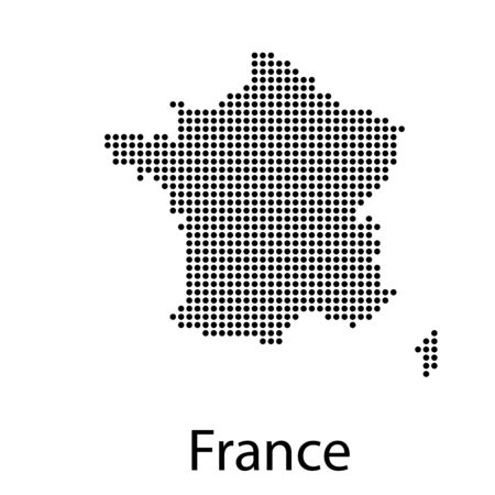 Vector map of France with regions and towns