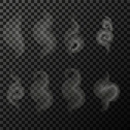 Set aus transparentem Rauch auf einem karierten Hintergrund eps Vektorgrafik