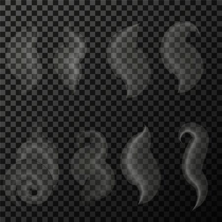 Set of transparent smoke on a plaid background eps